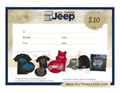 $10 All Things Jeep Gift Certificate