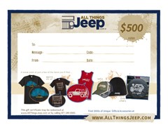 $500.00 All Things Jeep Gift Certificate