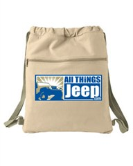 All Things Jeep Logo Canvas Cinch Sack