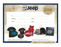 $250.00 All Things Jeep Gift Certificate
