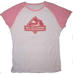 "Women's Raglan Sleeve Tee (Pink): ""Not All Women are Passengers"""