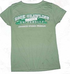 """Rock Crawling University - Alumni"" Women's Tee - Fatique Green"