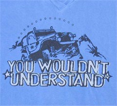 """You Wouldn't Understand"" Women's V-Neck Tee (Blue)"