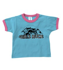 """Girls Rock""  Toddler Ringer T-Shirt (multi-color)"