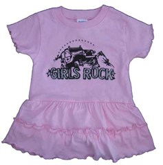 """Girls Rock""  Pink Infant /Toddler Romper Dress"