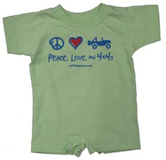 Peace, Love & 4x4's Infant Creeper, Mint Green