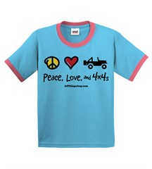 Peace, Love & 4x4s Toddler Ringer Tee-Aqua+Pink