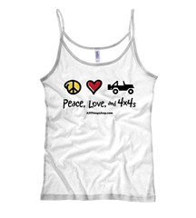 Peace, Love & 4x4s Women's White Spaghetti Strap Tee