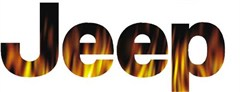 Jeep Logo Decal - Fire Flames (1 decal)