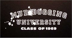 """Mud Bogging University"" White Decal"