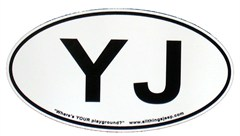 "YJ Oval ""Euro"" Sticker for your Jeep YJ"