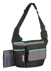 Jeep Diaper Bag, Messenger Style, Black with Colorful Trim