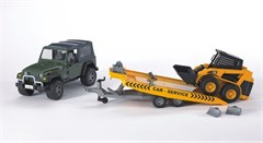 Jeep Wrangler with Tow Trailer + Skid Steer Loader, Bruder