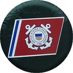 Black Vinyl U.S. Coast Guard Spare Tire Cover