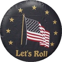 "American Flag ""Let's Roll"" Tire Cover, Navy Vinyl"
