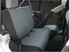 Custom Fit Polycanvas Seat Cover, Rear Set, Black/Gray, JK 4 Door, 07-12