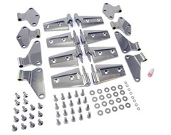 Door Hinge Kit, Rugged Ridge, Jeep Wrangler JK 4 Door (2007-2014), Includes 8 Hinges, Stainless Steel