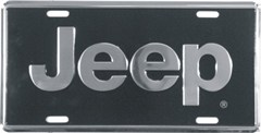"Jeep Logo License Plate - Silver and Black ""Super Stock"""