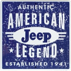 Jeep American Legend Metal Wall Sign (blue/white square)