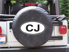 CJ Oval Design on Black Spare Wheel Cover