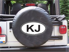KJ Oval Design on Black Spare Wheel Cover