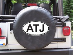 ATJ Oval Design on Black Spare Wheel Cover