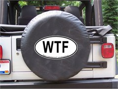WTF Oval Design on Black Spare Wheel Cover