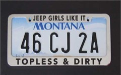 Jeep License Plate Frame: Jeep Girls Like it Topless & Dirty