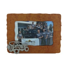 Jeep Picture Frame, Rustic Metal with Silver Jeep, for 4x6 photo