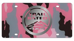 Trail Rated License Plate, Mirror on Pink Camouflage