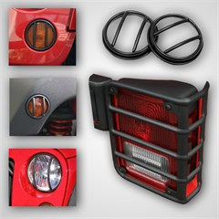 Euro Guard Light Kit Wrangler JK 2007-2016 10 Pc Black Rugged Ridge