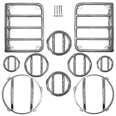 Euro Guard Light Kit With Fog Lights, Passenger, 10 Piece, Rugged Ridge, Jeep Wrangler JK (2007-2013), Stainless Steel