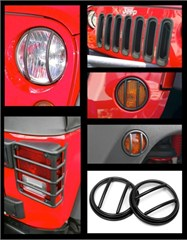 Euro Guard Light Kit Wrangler JK 2007-2016 19 Pc Black Rugged Ridge