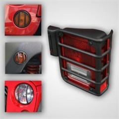Euro Guard Light Kit Without Fog Lights, 8 Piece, Rugged Ridge, Jeep Wrangler JK (2007-2013), Black