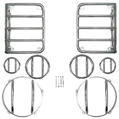 8 Piece Euro Guard Light Kit Without Fog Lights for Jeep Wrangler JK (2007-2013), Stainless Steel