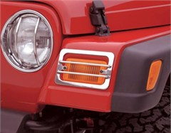 Euro Headlight Covers, Stainless, 97-06 Jeep Wrangler, 2pc