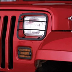 Front, Headlight And Turn Signal Guards, 1987-1995 Wrangler (4 Pieces), Black