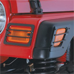 4 Piece Black Front Side and Park Lights Euro Guards for Jeep Wrangler TJ (1997-2006) and LJ (2004-2006)
