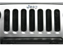 Grille 3D Single Piece formed steel, (dual color) Gloss Black with Clear Coat Polished Highlights, 97-06 Jeep TJ