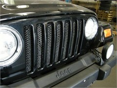 Grille 3D Single Piece formed steel, Gloss Black Powder Coat, 97-06 Jeep TJ