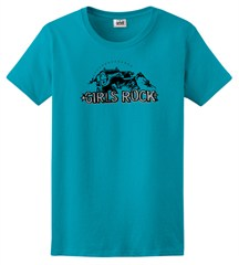 "CLOSEOUT - ""Girls Rock"" Women's Short Sleeve Blue Tee"