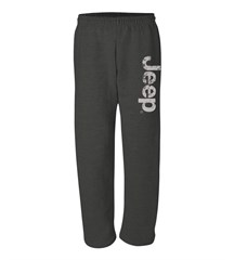 Heather Black Open Bottom Sweatpants with Distressed Jeep Logo