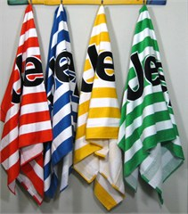 "Jeep Beach Towels, Striped Velour with Black Jeep Logo, Oversized 34"" x 64"""