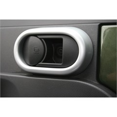 Interior Door Handle Cover Trim, Jeep Wrangler JK (2007-2010), Pair, Brushed Silver