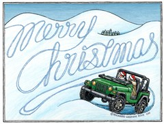 "Jeep Christmas Cards - Green Jeep ""Merry Christmas"""
