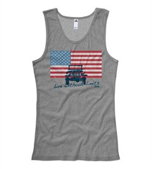 "Jeep American Flag ""Live Without Limits"" Junior's Gray Tank"