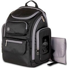 Jeep Poly Twill Back Pack Diaper Bag, Black/Gray
