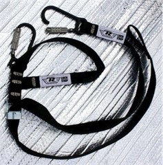 Cargo Tie Down Strap, Patented System with locking Caribiner Clip and steel cable web strap