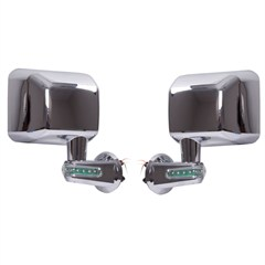 Chrome Mirror Kit with LED Turn Signal Indicators for Jeep JK Wrangler (2007-2014)