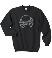JPFreek, Skull, Crew Neck Sweatshirt, Black
